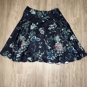 Context Bird & Floral Print Navy Skirt Size 8